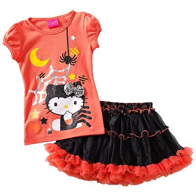Hello Kitty Halloween Tee and Tiered Scooter Set - Girls 4-6x