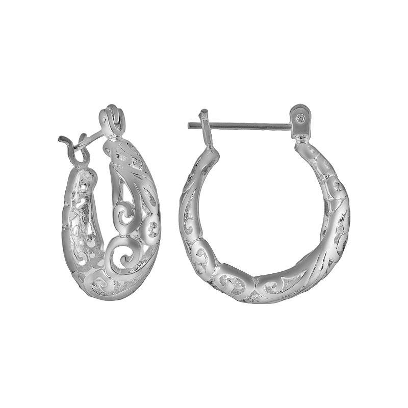 Silver Plated Filigree Hoop Earrings, Women's, Grey