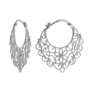 Silver Plated Flower Filigree Hoop Earrings