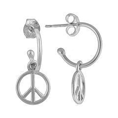 Silver Plated Peace Sign Hoop Drop Earrings
