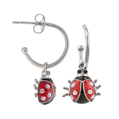 Silver Plated Crystal Ladybug Hoop Drop Earrings