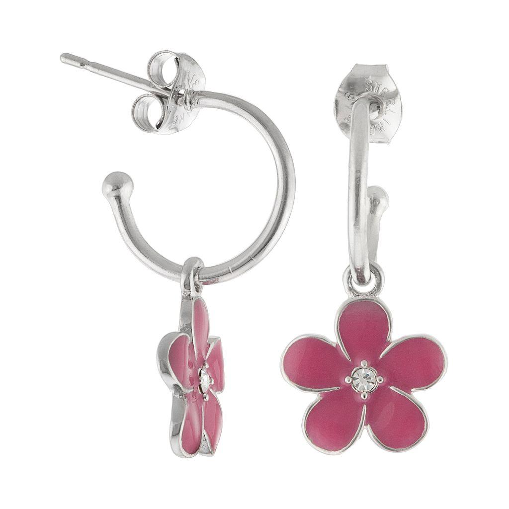 Silver Plated Crystal Flower Hoop Drop Earrings