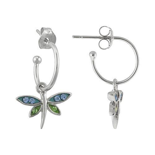 Silver Plated Crystal Dragonfly Hoop Drop Earrings