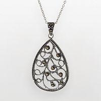 Silver Plated Marcasite Filigree Teardrop Pendant