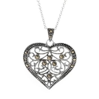 Silver Plated Marcasite Filigree Heart Pendant