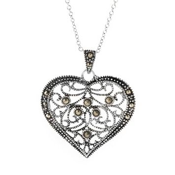 Silver Plated Marcasite Filigree Heart Pendant