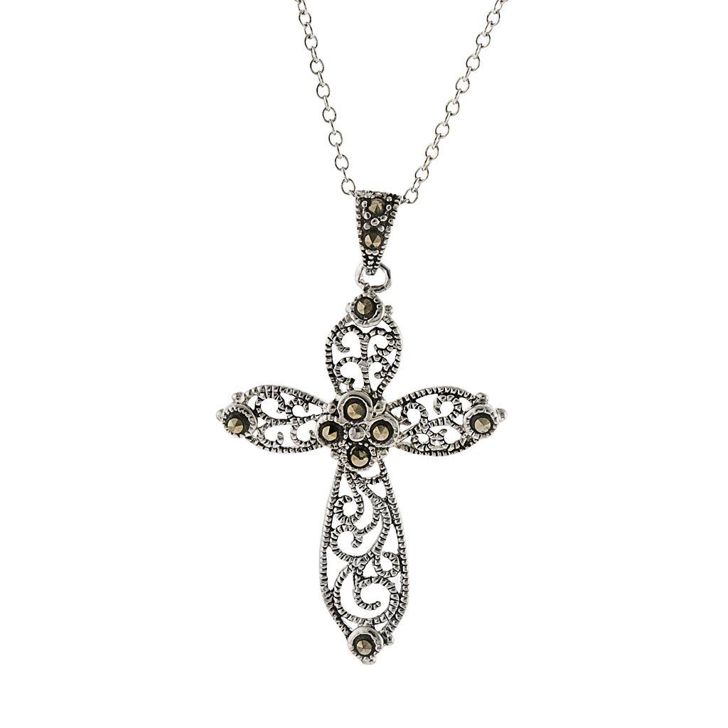 Silver Plated Marcasite Filigree Cross Pendant