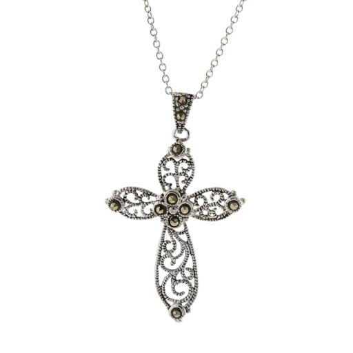 Silver Plated Marcasite Filigree Cross Pendant