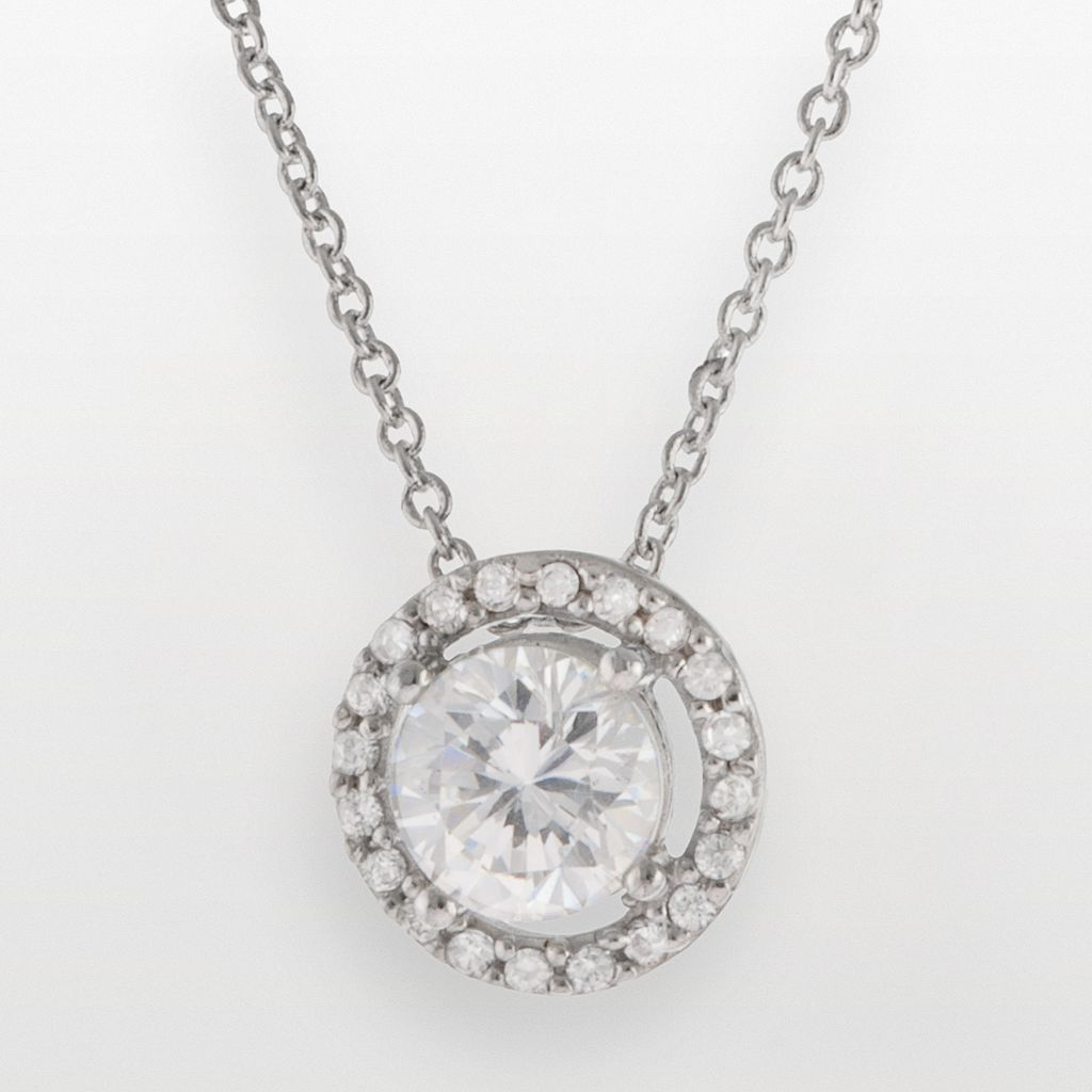 Silver Plated Lab-Created Cubic Zirconia Circle Pendant