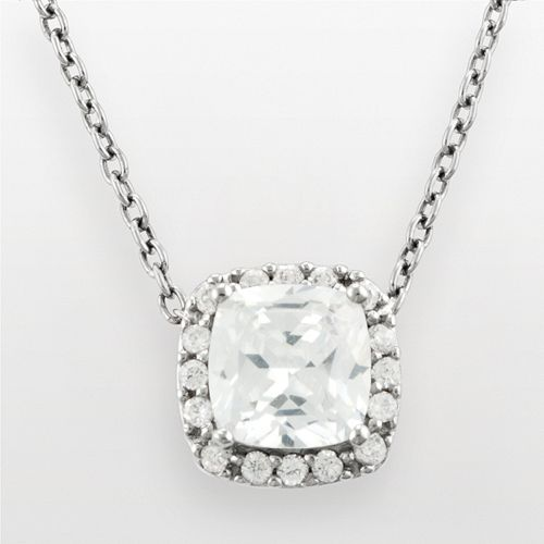 Silver Plated Cubic Zirconia Square Frame Pendant