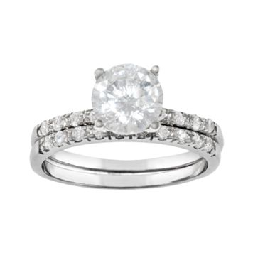 Silver Plated Lab-Created Cubic Zirconia Ring Set