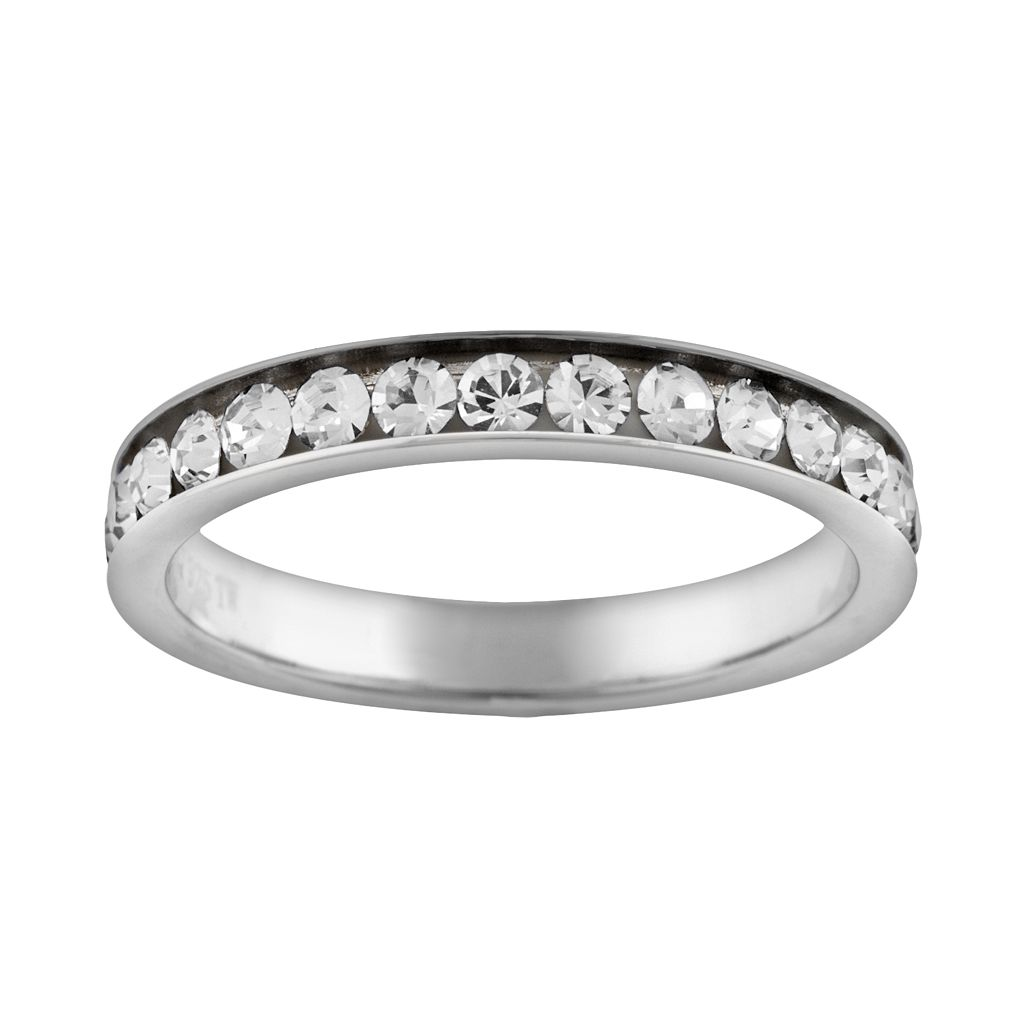 Silver Plated Simulated Crystal Eternity Ring