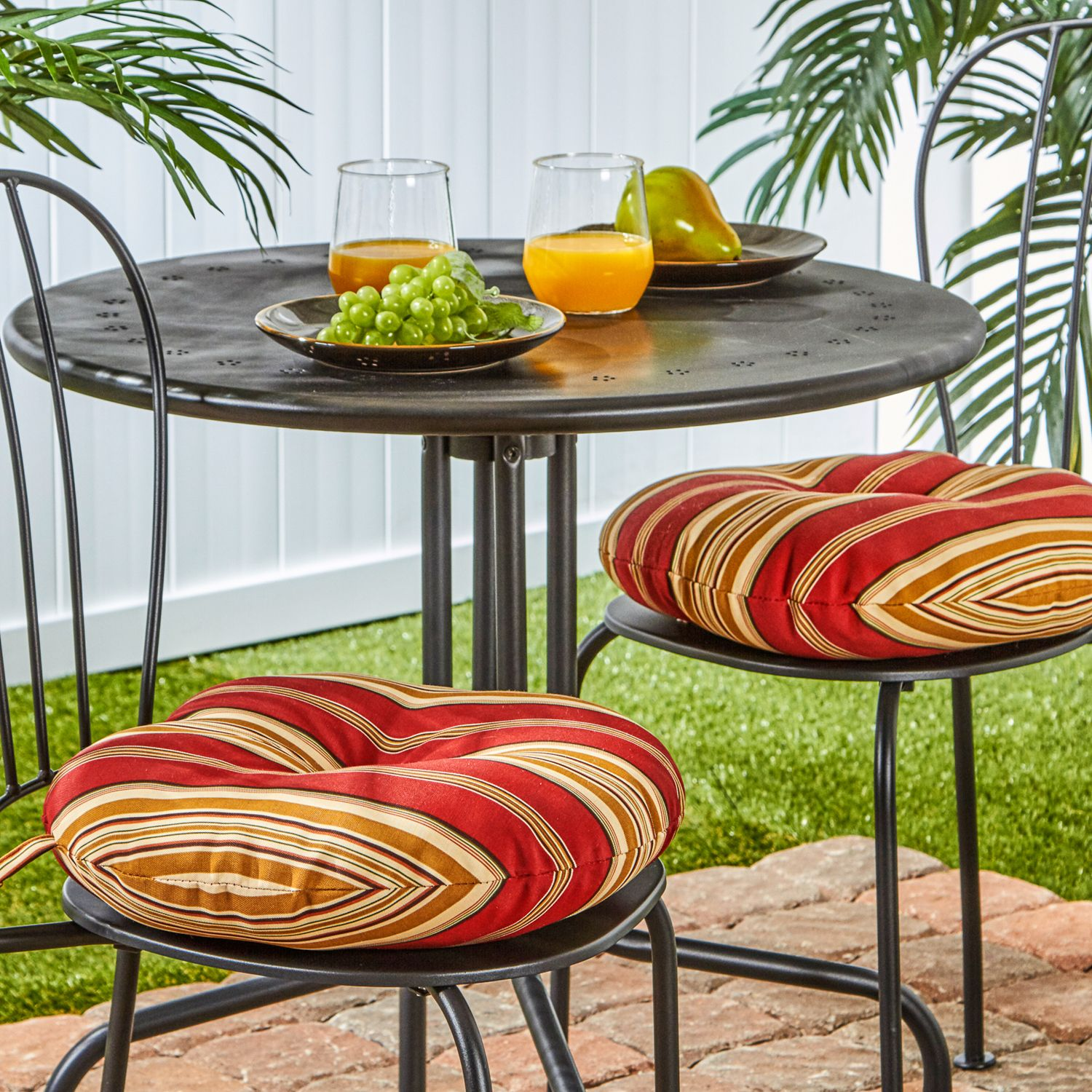Greendale Home Fashions Solid 2 Pk. Outdoor Round Chair Cushions   15