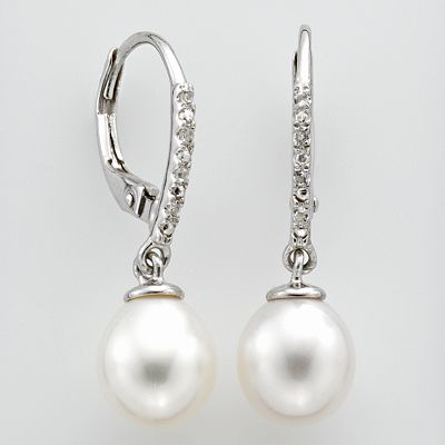 Sterling Silver Freshwater Cultured Pearl and White Topaz Drop Earrings