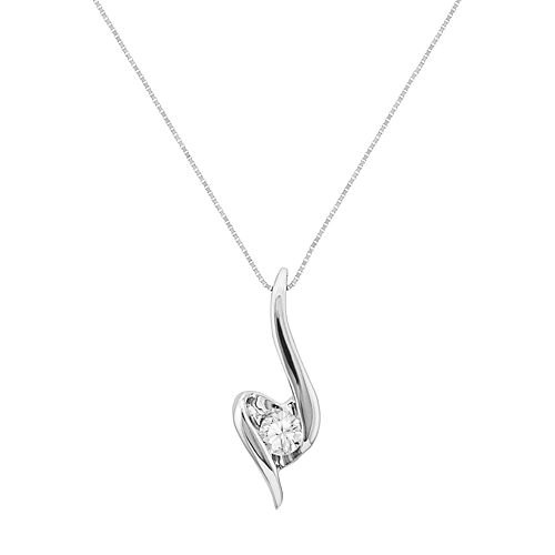 Sirena Collection 14k White Gold 1/8 Carat T.W. Diamond Swirl Pendant