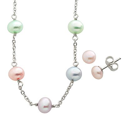 Sterling Silver Dyed Freshwater Cultured Pearl Station Necklace and Stud Earring Set - Kids