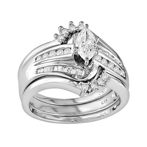 14k White Gold 3/4-ct. T.W. IGL Certified Marquise-Cut Diamond Swirl Ring Set