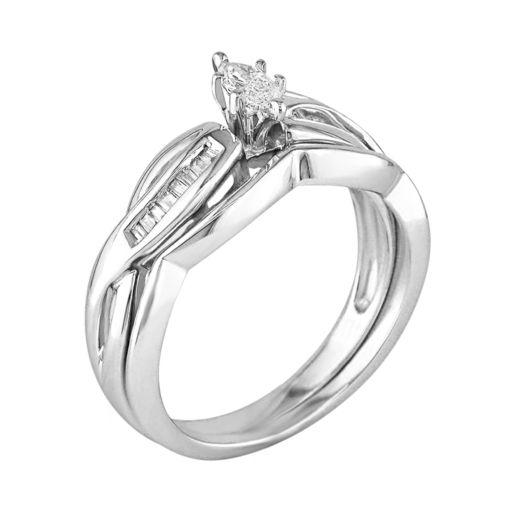 14k White Gold 1/4-ct. T.W. Marquise-Cut Diamond Swirl  Ring Set