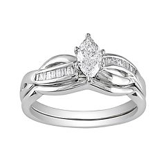 14k White Gold 1/2-ct. T.W. IGL Certified Marquise-Cut Diamond Swirl Ring Set