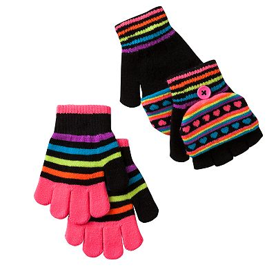 Jumping Beans 2-pk. Heart and Striped Flip-Top Magic Gloves - Girls