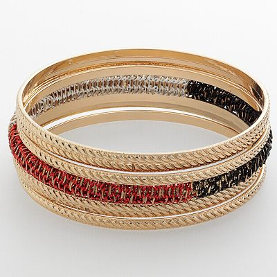 Apt. 9 Gold Tone Colorblock and Textured Bangle Bracelet Set