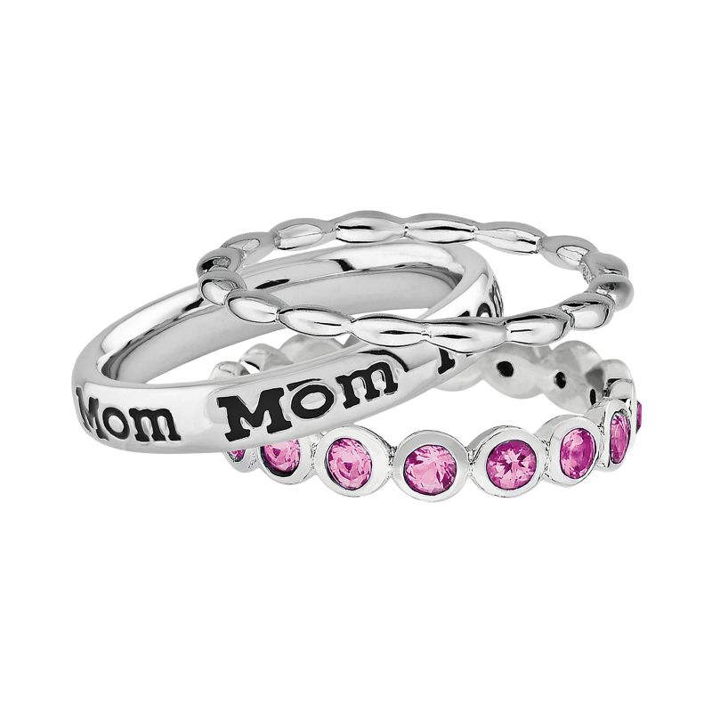 Stacks & Stones Sterling Silver Crystal Eternity, Beaded & Mom Ring Set - Made with Swarovski Elements