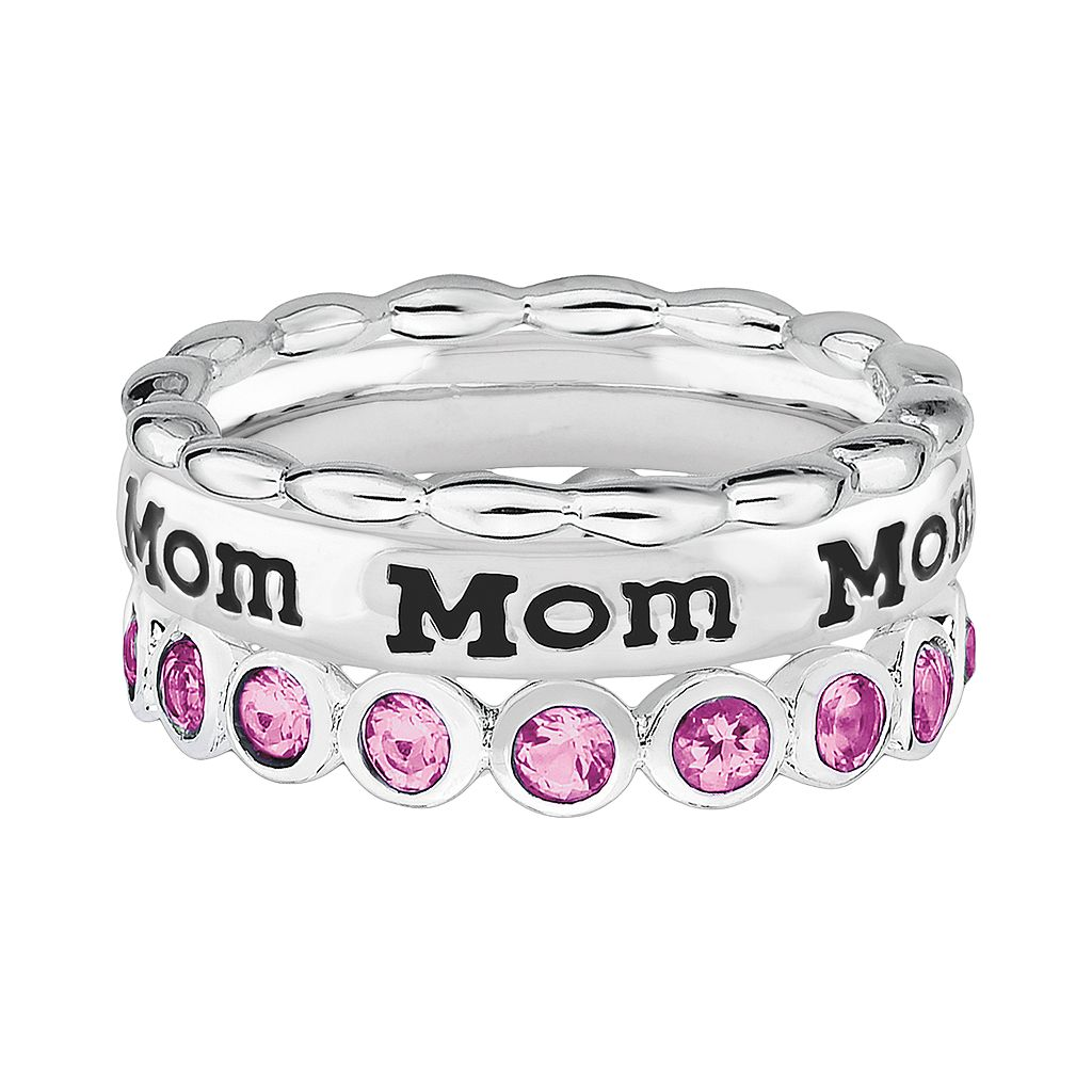 Stacks and Stones Sterling Silver Crystal Eternity, Beaded and Mom Ring Set - Made with Swarovski Crystals