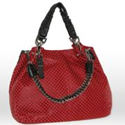 B-Collective by Buxton Leather Embossed Checked Satchel
