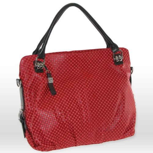 B-Collective by Buxton Embossed Checked Leather Shoulder Bag