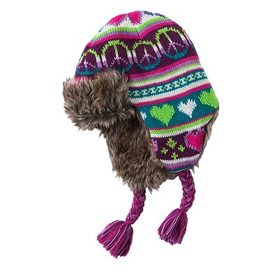 Peace Heart Jacquard Hat - Girls 7-16