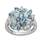 Sterling Silver Lab-Created Sapphire, Lab-Created Opal and Blue Topaz Flower Ring