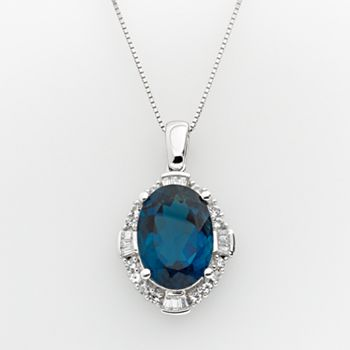 Sterling silver london blue topaz lab created white sapphire frame sterling silver london blue topaz lab created white sapphire frame pendant aloadofball Choice Image