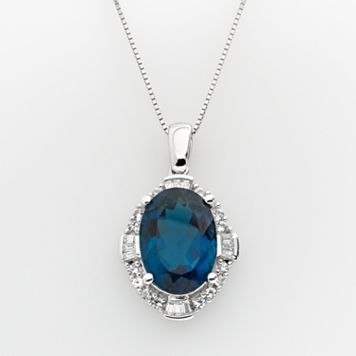 Sterling Silver London Blue Topaz & Lab-Created White Sapphire Frame Pendant