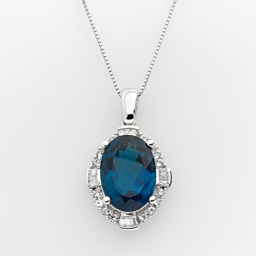 Sterling Silver London Blue Topaz & Lab-Created White Sapphire Frame Pendant