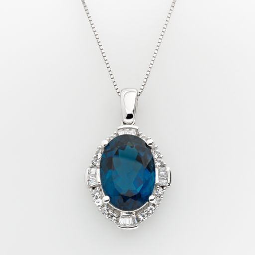 Sterling Silver London Blue Topaz and Lab-Created White Sapphire Frame Pendant