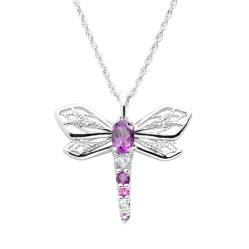Sterling Silver Lab-Created Amethyst, Lab-Created Sapphire and Sky Blue Topaz Dragonfly Pendant