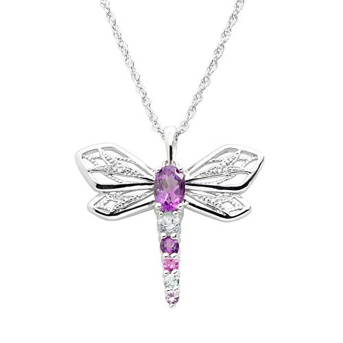 Sterling Silver Lab-Created Amethyst, Lab-Created Sapphire & Sky Blue Topaz Dragonfly Pendant