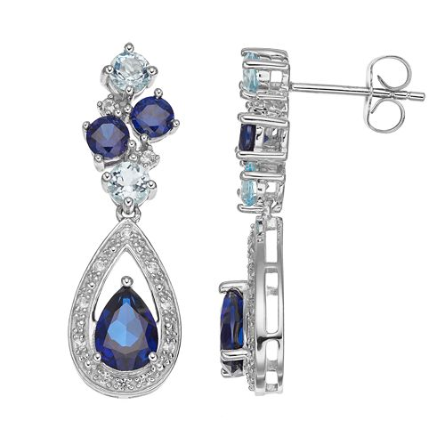 Sterling Silver Lab-Created Blue & White Sapphire Teardrop Earrings