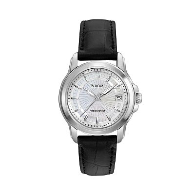 Bulova Precisionist Stainless Steel Mother-of-Pearl Leather Watch - 96M120 - Women