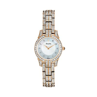 Bulova Stainless Steel Rose Gold Tone Crystal and Mother-of-Pearl Watch - 98L155 - Women