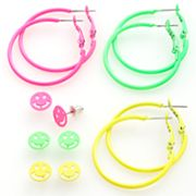 SO Smiley Face Button Stud and Hoop Earring Set