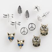 SO Two Tone Owl, Peace Sign and Leaf Button Stud Earring Set
