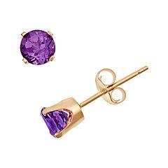 14k Gold Amethyst Stud Earrings - Kids