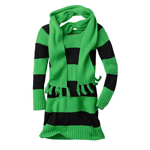 Cherry Stix Neon Striped Sweater And Scarf Set - Girls 7-16 $ 21.99