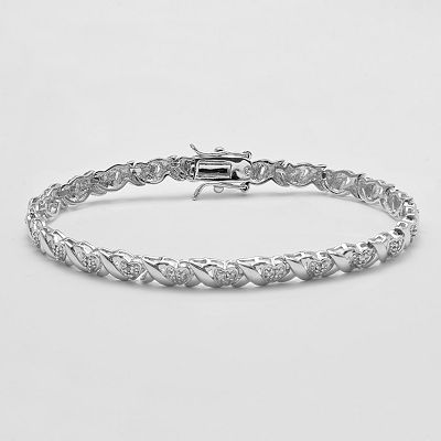 "Rhodium Plate 1/4-ct. T.W. Diamond ""XO"" Heart Bracelet"