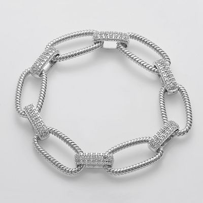 Rhodium Plate 1/4-ct. T.W. Diamond and Textured Link Bracelet