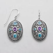 Sterling Silver Cubic Zirconia Openwork Oval Drop Earrings