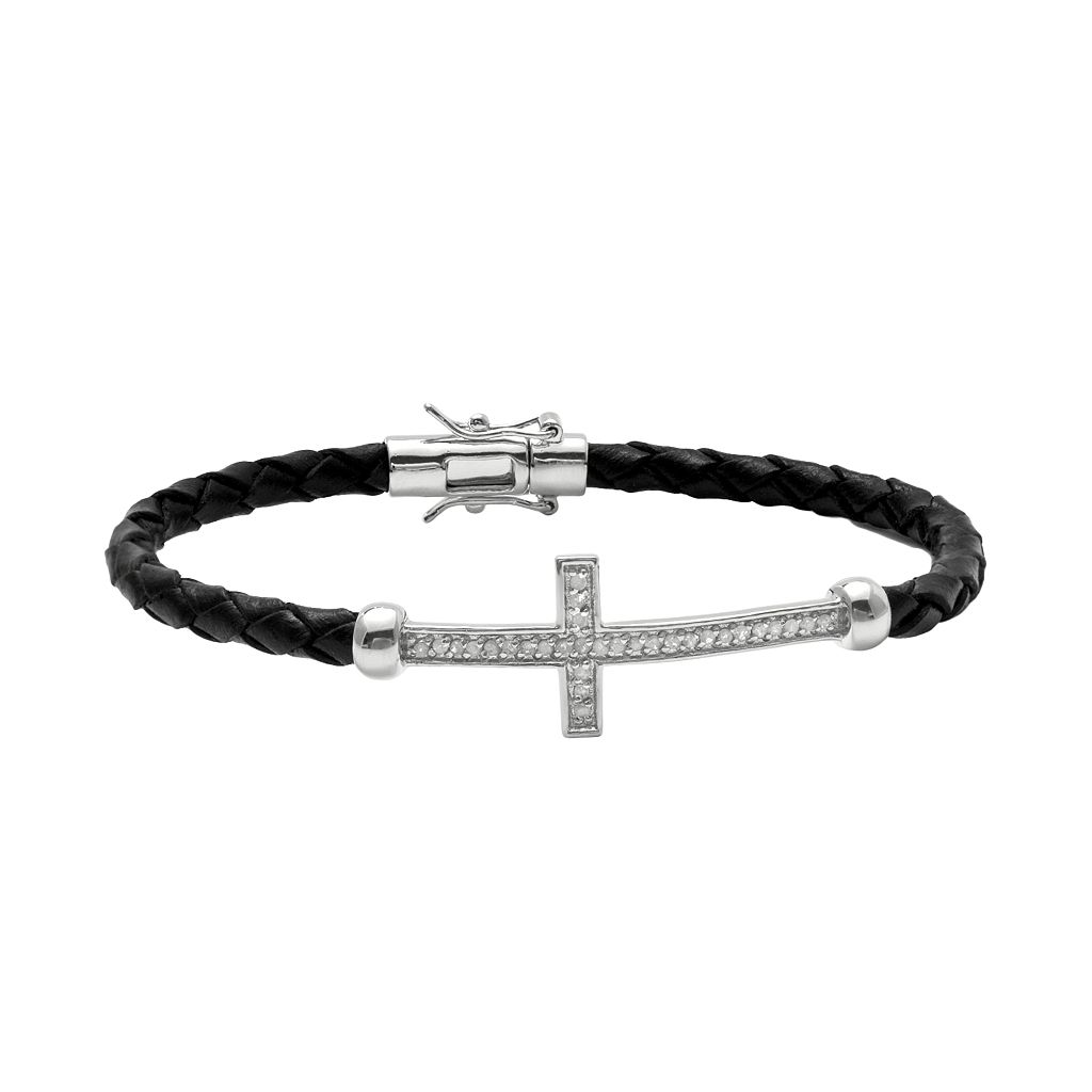 Sterling Silver & Leather 1/4-ct. T.W. Round-Cut Diamond Sideways Cross Bracelet