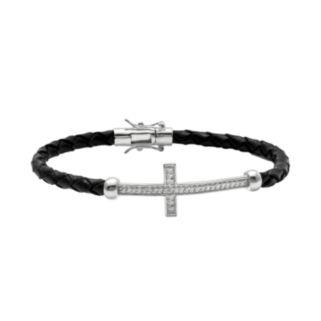Sterling Silver and Leather 1/4-ct. T.W. Round-Cut Diamond Sideways Cross Bracelet