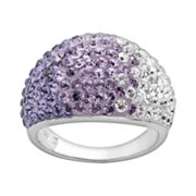 Artistique Sterling Silver Crystal Ombre Dome Ring - Made with Swarovski Elements